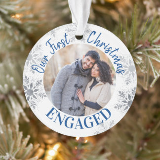 Our First Christmas Engaged Blue and Silver Photo Ornament