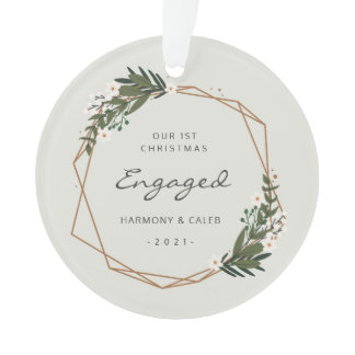 Our First Christmas Engaged Modern Geometric Photo Ornament
