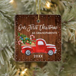 Our First Christmas Grandparents Truck Wood Snow Ceramic Ornament