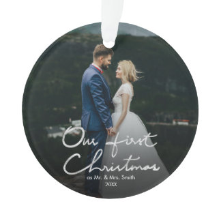 Our First Christmas Hand Lettered Christmas Ornament
