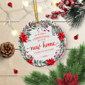 Our First Christmas In Our New Home Rustic Wreath Ceramic Ornament