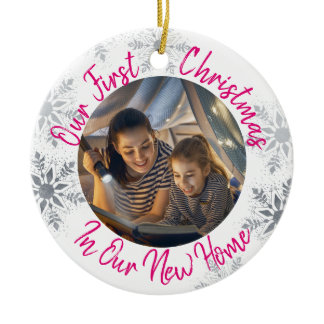 Our First Christmas in our New Home w Photo - Pink Ceramic Ornament