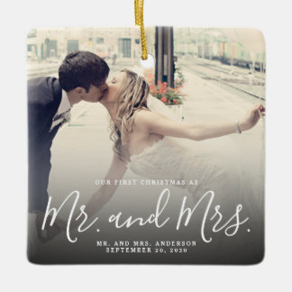 Our First Christmas Married Photo Elegant Script Ceramic Ornament