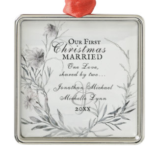 Our First Christmas Married, Watercolor Floral Metal Ornament