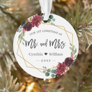 Our First Christmas Mr Mrs Geometric Floral Photo Ornament