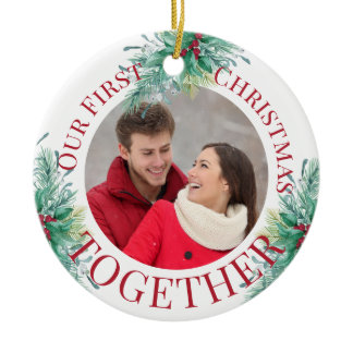 Our First Christmas Together Custom Photo Holly Ceramic Ornament