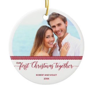 Our First Christmas Together - Personalized Photo Ceramic Ornament