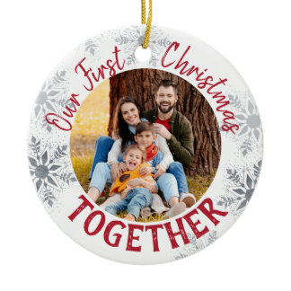 Our First Christmas Together w. Custom Photo - Red Ceramic Ornament