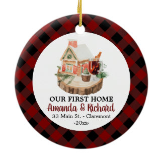 Our first Home Christmas rustic flannel Ceramic Ornament