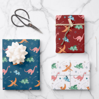Outer Space Dinosaur Holiday Christmas Cute Wrapping Paper Sheets