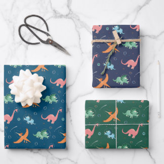 Outer Space Dinosaur Kids Birthday Wrapping Paper Sheets