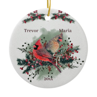 Pair of Cardinals 1st Christmas Together Ceramic Ornament