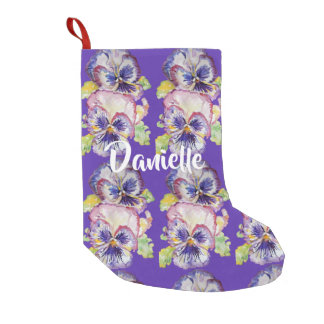 Pansy Watercolor Purple Flowers Floral Stocking