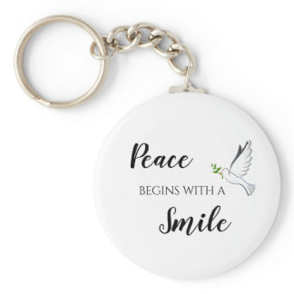 Peace begins with a smile dove quote keychain