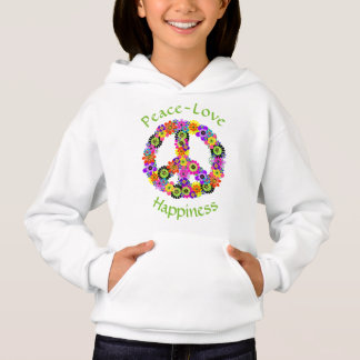 Peace Sign Love & Happiness on White Hoodie