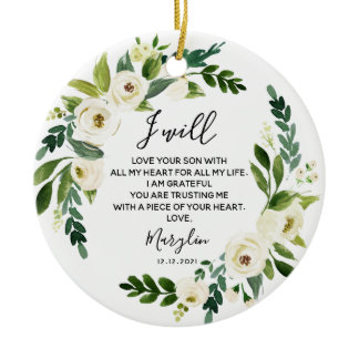 Personalised Mother of the Groom White Floral Gift Ceramic Ornament
