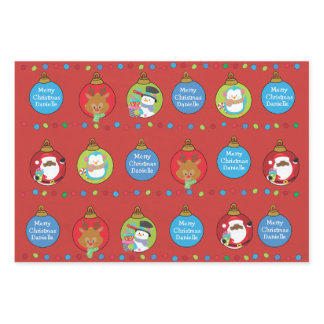 Personalize  Black Santa and Friends Wrapping Paper Sheets