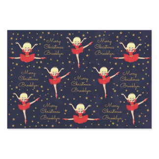 Personalize Blonde Christmas Ballerina Wrapping Paper Sheets