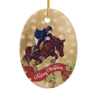 Personalize Girl and Horse Jumping Merry Christmas Ceramic Ornament