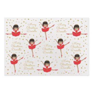 Personalize Multicultural Christmas Ballerina Wrapping Paper Sheets