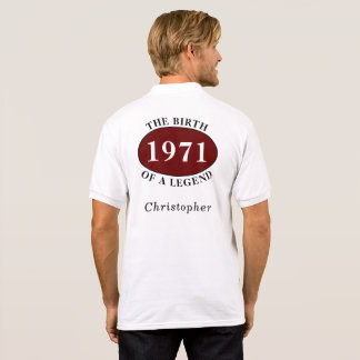 Personalized 50th Birthday 1971 Birth Of A Legend Polo Shirt