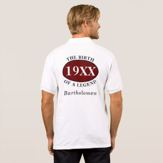 Personalized 50th Birthday Birth Of A Legend White Polo Shirt