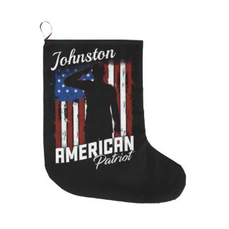 Personalized American Patriot Soldier USA Flag Large Christmas Stocking