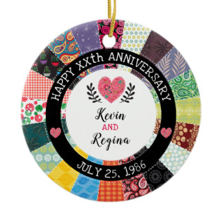 Personalized Anniversary, Patchwork Quilt Pattern Ceramic Ornament
