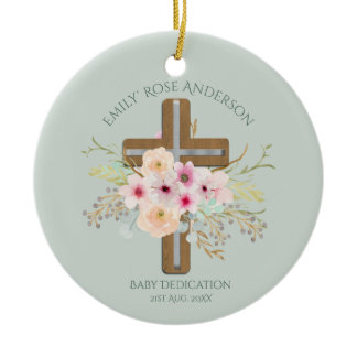 Personalized BABY Dedication Floral Cross Ceramic Ornament