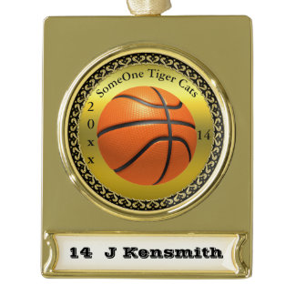 Personalized Basketball Champions League design Gold Plated Banner Ornament