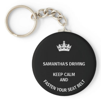 Personalized black Keep Calm girly driving Keychain