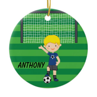 Personalized Blonde Haired Soccer Boy Christmas Ceramic Ornament