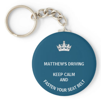 Personalized Blue Keep Calm Learner New driver Keychain