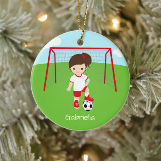 Personalized Brown Haired Soccer Girl Christmas Ceramic Ornament