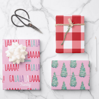Personalized Christmas Flat Sheet Wrapping Paper
