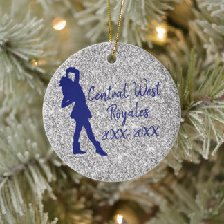Personalized Drill Team   Navy Blue and Silver Ceramic Ornament