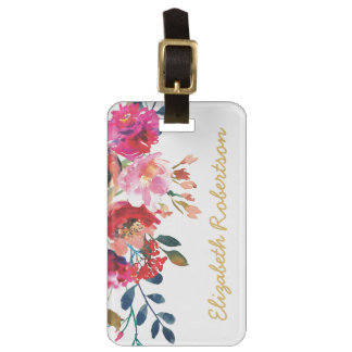 Personalized Elegant Floral Watercolor Girly Pink Luggage Tag