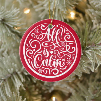 Personalized Family Name All Is Calm Christmas Ceramic Ornament