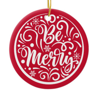 Personalized Family Name Be Merry Christmas Red Ceramic Ornament