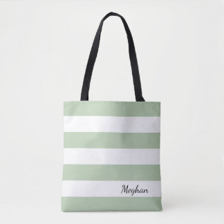 Personalized Grayed Jade and White Striped Tote