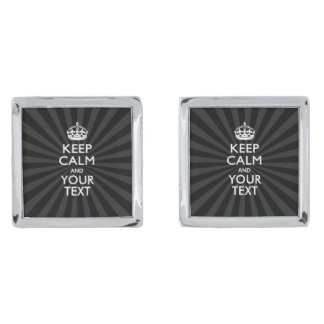 Personalized KEEP CALM and your text on burst Silver Cufflinks