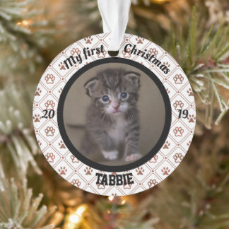 Personalized Kitten's First Christmas Photo Ornament