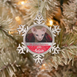 Personalized Kitten's First Christmas Photo Snowflake Pewter Christmas Ornament