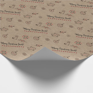 Personalized Kraft-Styled Christmas Doodles Brown Wrapping Paper