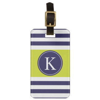 Personalized Monogram Stripes Pattern Navy Lime Luggage Tag