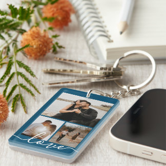 Personalized Photo and Text Photo Collage Keychain
