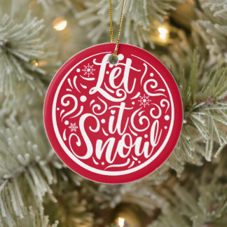 Personalized Photo Let It Snow Christmas Red Ceramic Ornament