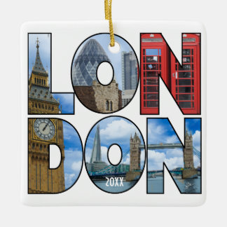 Personalized Photo London Europe City Typography Ceramic Ornament
