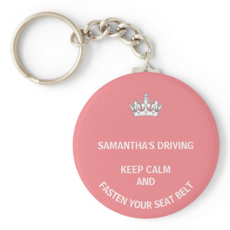 Personalized pink Keep Calm girly driving Keychain