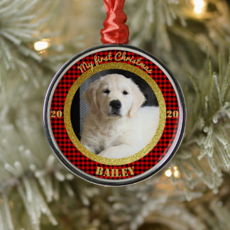 Personalized Puppy's First Christmas Photo Metal Ornament